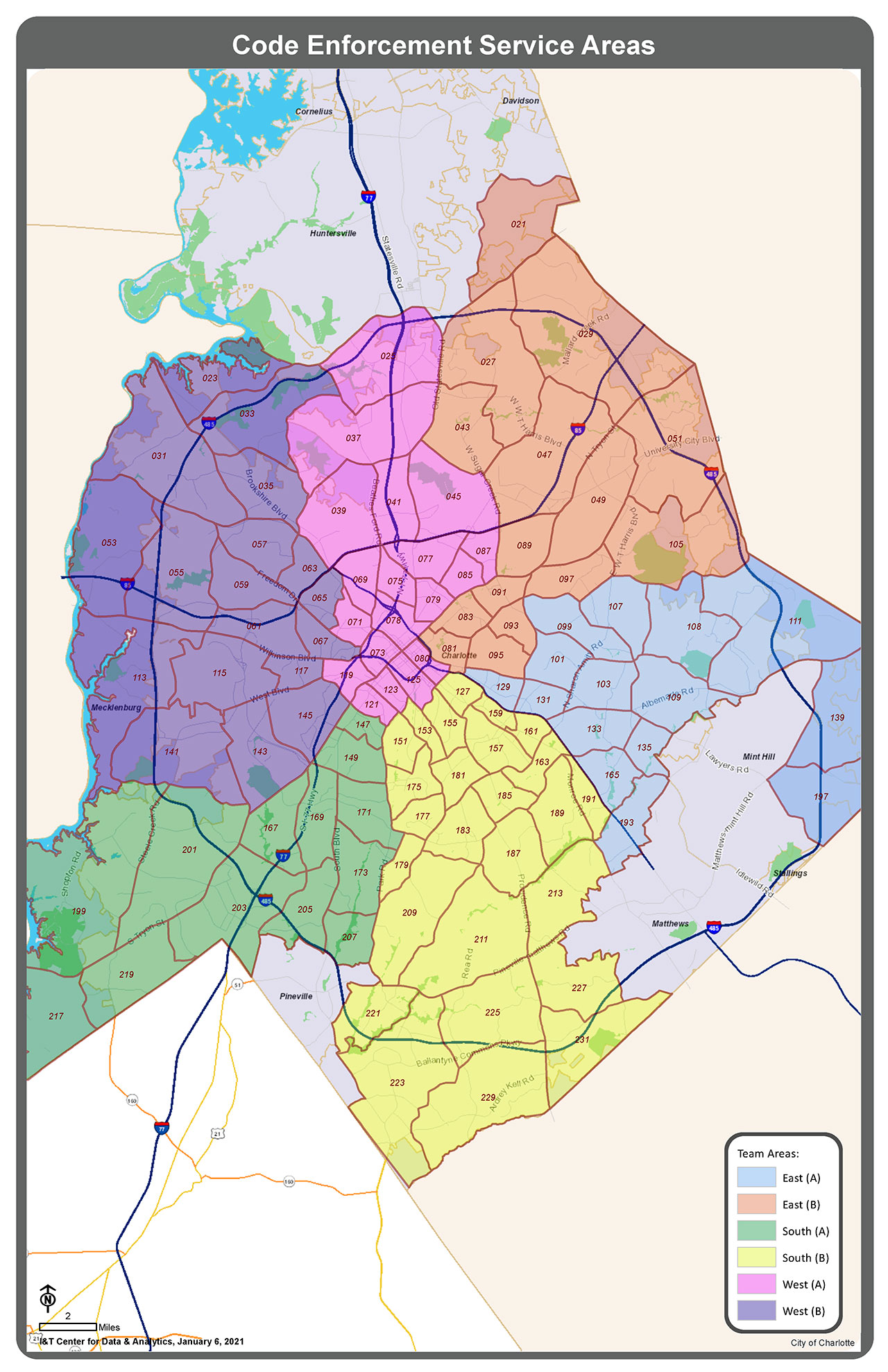 Map detailing Code Enforcement Service areas
