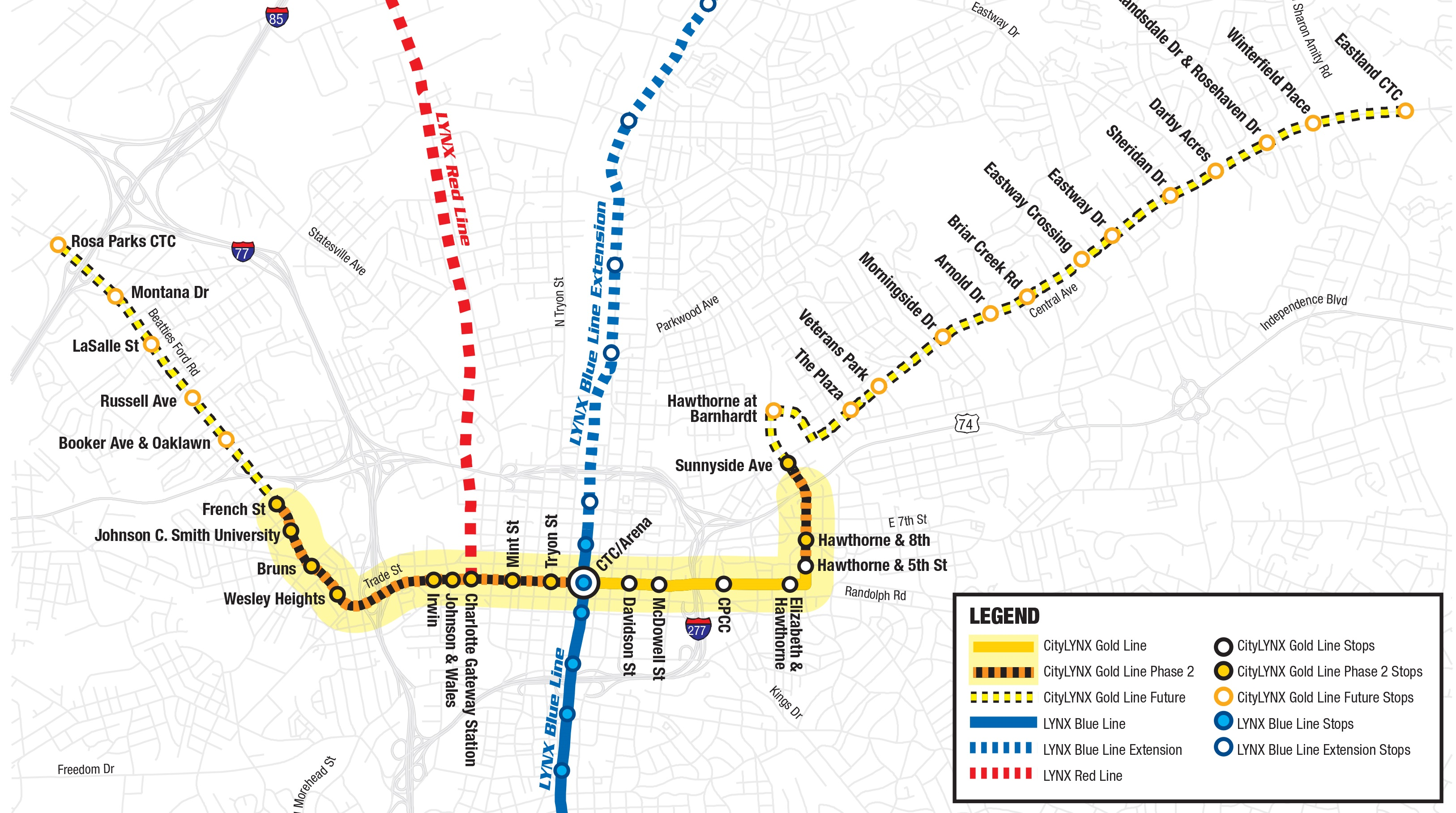 The CityLYNX Gold Line map depicting all three phases of the project.